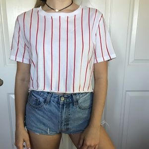 baseball-style striped top